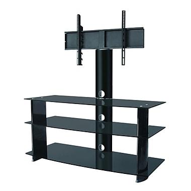 Electronic Master – support pour téléviseur à 3 rangées en verre robuste, 17,7 x 48,8 x 20,9 po, noir