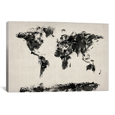 iCanvas ''Map of The World Paint Splashes'' by Michael Tompsett Graphic Art on Canvas