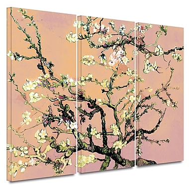 ArtWall Eggshell Almond Blossom by Vincent Van Gogh 3 Piece Painting Print on Wrapped Canvas Set
