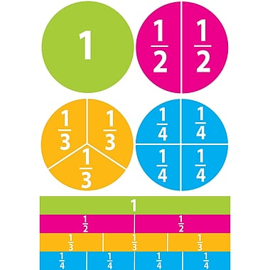 Ashley Math Die Cut Magnet, Beginning Fractions, 5/Pack