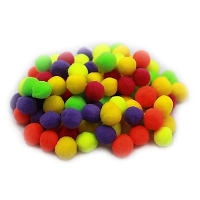 Charles Leonard Creative Arts™ Pom-Poms Furry Balls, Hot Color, 1/2
