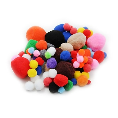 Charles Leonard Creative Arts Pom-Poms Furry Balls, Assorted Colours/Sizes, 800/Pack (CHL69310)