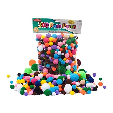 Charles Leonard Creative Arts Pom-Poms Furry Balls, Assorted Colours/Sizes, 900/Pack (CHL69330)