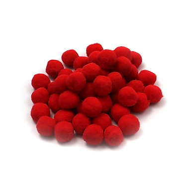 Charles Leonard Creative Arts Pom-Poms Furry Balls, Red, 1