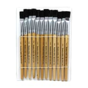 "Charles Leonard Flat Easel Paint Brushes With 1/2"" Wide Natural Stubby Handle, Black Bristle, 4/Pack"