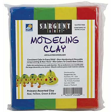 Sargent Art Solid Colour Modeling Clay, Primary Colours, 36/Pack (SAR224400)