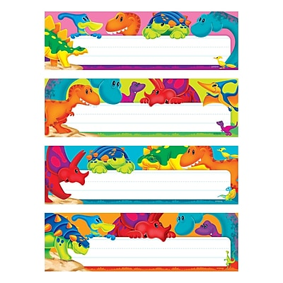 Trend Enterprises Desk Toppers Name Plate Variety Pack, Dino-Mite Pals, 6/Set 1582446