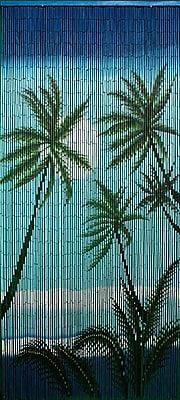 Bamboo54 Carribean Palms Graphic Print & Text Semi-Sheer Single Curtain Panel