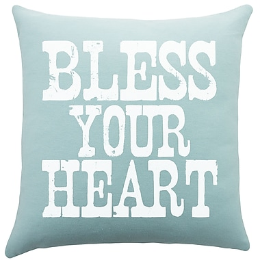 TheWatsonShop Bless Your Heart Cotton Throw Pillow; Aqua