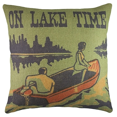 TheWatsonShop On Lake Time Burlap Throw Pillow