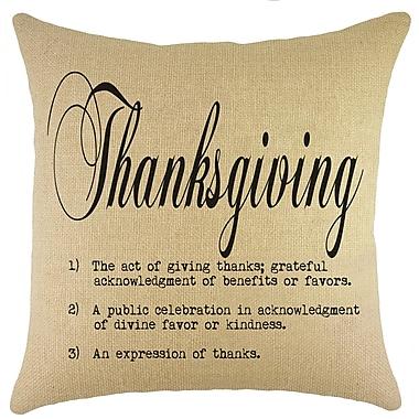 TheWatsonShop Thanksgiving Burlap Throw Pillow; Black