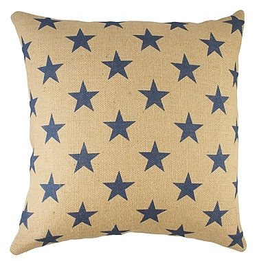 TheWatsonShop Stars Burlap Throw Pillow; Blue