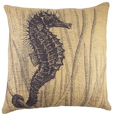 TheWatsonShop Seahorse Burlap Throw Pillow