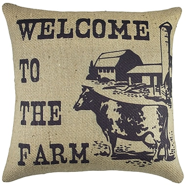 TheWatsonShop Welcome to the Farm Burlap Throw Pillow