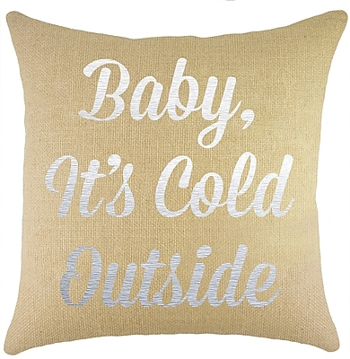 TheWatsonShop Baby, It's Cold Outside Burlap Throw Pillow
