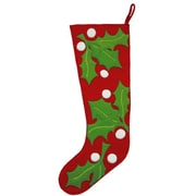 The Sandor Collection Holly Clusters Christmas Stocking; Red
