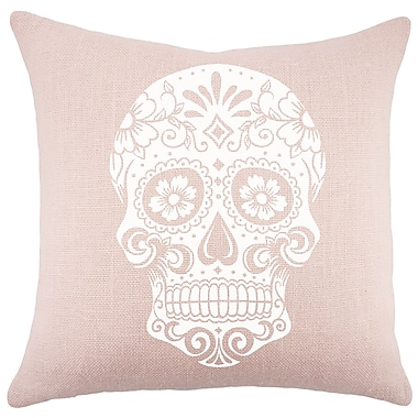 TheWatsonShop Sugar Skull Burlap Throw Pillow
