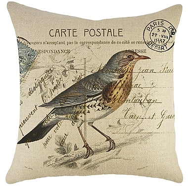 TheWatsonShop Bird On Branch Burlap Throw Pillow