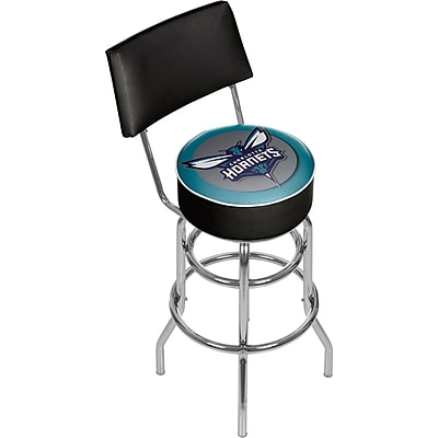 Trademark Global NBA NBA1100-CH Charlotte Hornets Steel Padded Swivel Bar Stool with Back