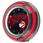 "Trademark Global NBA Hardwood Classics NBA1400HC-AH 14.5"" Black Double Ring Neon Clock, Atlanta Hawks"