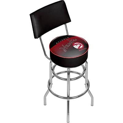 Trademark Global NBA Hardwood Classics NBA1100HC-AH Steel Bar Stool with Back, Atlanta Hawks
