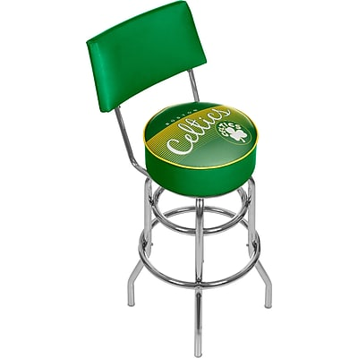 Trademark Global NBA 41.75'' Modern Swiveling Base Padded Bar Stool, Chrome (886511605190)