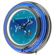"Trademark Global NBA Hardwood Classics NBA1400HC-CH 14.5"" Blue Double Ring Neon Clock, Charlotte Hornets"