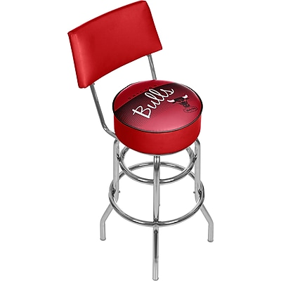 Trademark Global NBA 41.75'' Modern Swiveling Base Padded Bar Stool, Chrome (886511605206)