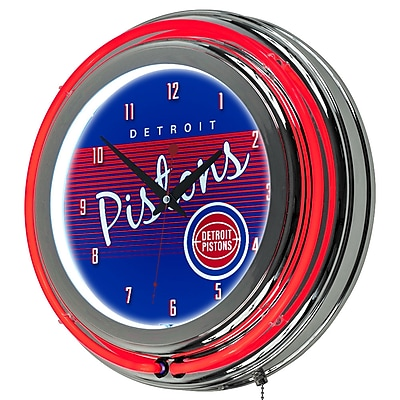 Trademark Global NBA Hardwood Classics 14.5 Blue Double Ring Neon Clock, Detroit Pistons