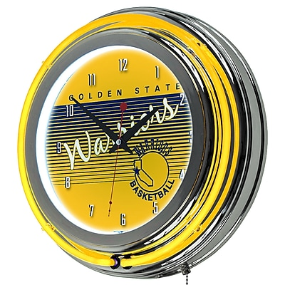 Trademark Global NBA Hardwood Classics 14.5 Yellow Double Ring Neon Clock, Golden State Warriors