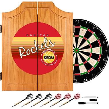Trademark Global NBA NBA7000HC-HR Wood Dart Cabinet Set, Houston Rockets