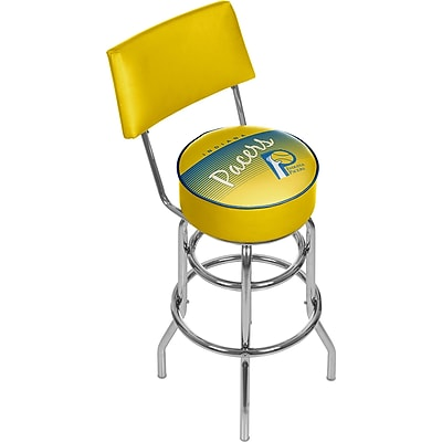 Trademark Global NBA 41.75'' Modern Swiveling Base Padded Bar Stool, Chrome (886511605282)