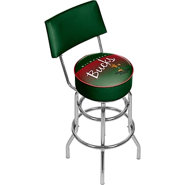 Trademark Global NBA 41.75'' Modern Swiveling Base Padded Bar Stool, Chrome (886511605305)