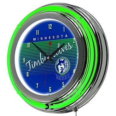 Trademark Global NBA Hardwood Classics 14.5 Blue Double Ring Neon Clock, Minnesota Timberwolves