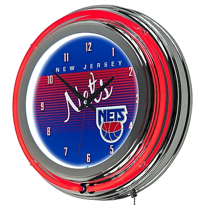 Trademark Global NBA Hardwood Classics 14.5 Blue Double Ring Neon Clock, New Jersey Nets