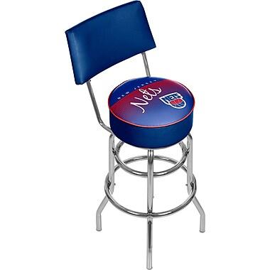 Trademark Global NBA Hardwood Classics NBA1100HC-NJN Steel Bar Stool with Back, New Jersey Nets