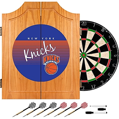 Trademark Global NBA NBA7000HC-NYK Wood Dart Cabinet Set, New York Knicks