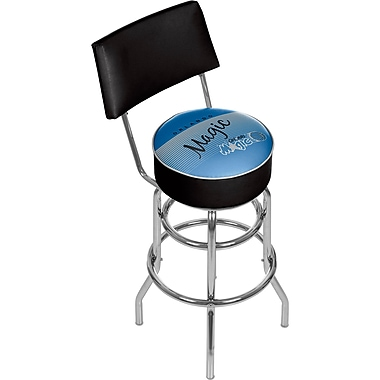 Trademark Global NBA 41.75'' Modern Swiveling Base Padded Bar Stool, Chrome (886511605350)