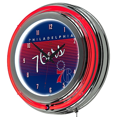 Trademark Global NBA Hardwood Classics 14.5 Blue Double Ring Neon Clock, Philadelphia 76ers