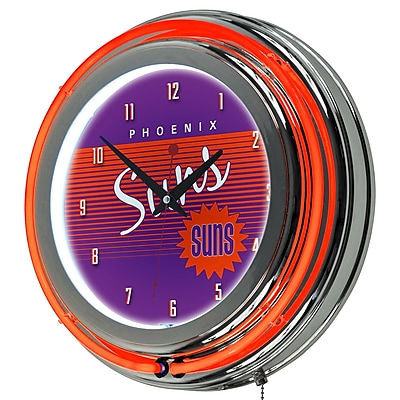 Trademark Global NBA Hardwood Classics NBA1400HC-PS 14.5 Purple Double Ring Neon Clock, Phoenix Suns