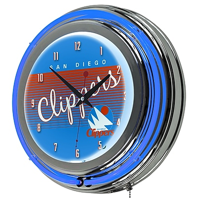 Trademark Global NBA Hardwood Classics 14.5 Blue Double Ring Neon Clock, San Diego Clippers