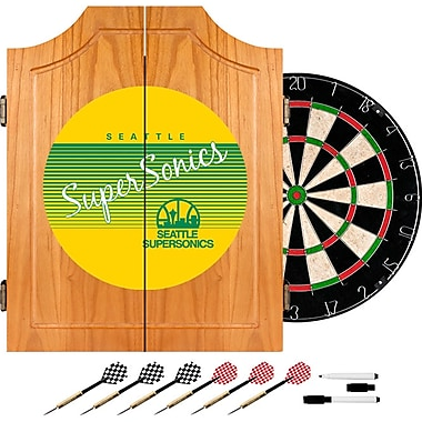 Trademark Global NBA NBA7000HC-SSS Wood Dart Cabinet Set, Seattle SuperSonics