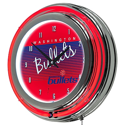 Trademark Global NBA Hardwood Classics 14.5 Red Double Ring Neon Clock, Washington Bullets