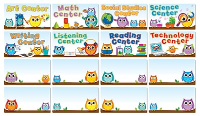 Carson-Dellosa Colorful Owls Center Signs Bulletin Board Set, 16 Pieces/Set