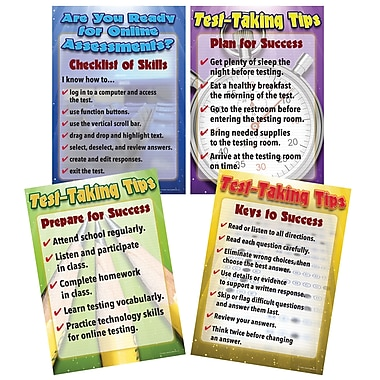 Carson-Dellosa Mark Twain Media Language Arts Testing Tips Bulletin Board Set, 4 Boards/Set (410094)