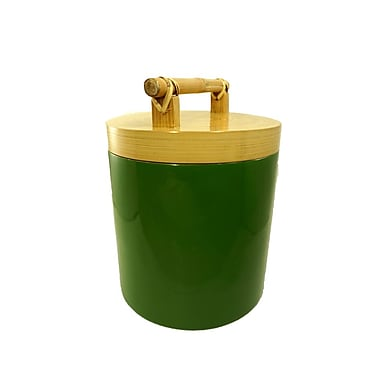 Bodhi Tree Collections Spun Bamboo and Lacquer 135 qt Kitchen Canister; Palm Green
