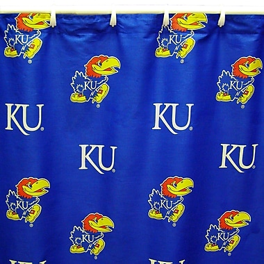College Covers NCAA Kansas Cotton Printed Shower Curtain