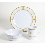 Galleyware  Company Decorated Fish Melamine 12 Piece Dinnerware Set, Service for 4; Gold