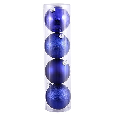Vickerman Ball Assorted Ornament (Set of 4); Cobalt Blue
