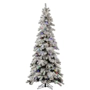 Vickerman Flocked Kodiak 7' White Spruce Artificial Christmas Tree w/ 555 LED Multi-Colored Lights
